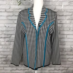 Ming Wang Houndstooth Blue Sweater size M